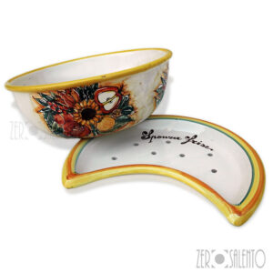 Sponza-Frise-terracotta-con-girasole-mela-bordo-giallo