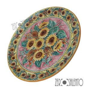 Piatto Piano in terracotta dipinto a mano con Girasoli TER055 by ZeroSalento
