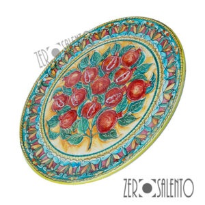 Piatto Piano in terracotta dipinto a mano con Melagrane TER030 by ZeroSalento