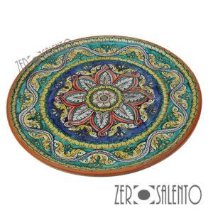 Piatto piano in terracotta con motivo stellato con foglie stilizzate BLU Ter032