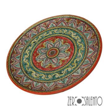 Piatto piano in terracotta con motivo stellato con foglie stilizzate ROSSO by ZeroSalento