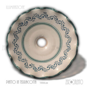lampada-ceramica-bianca-bordi-decori-verdeTERIL59-Salento-in-cucina