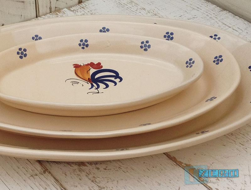 Piatto ovale da portata in terracotta ceramica decoro gallo - Piatto da portata ...