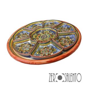 ANTIPASTIERA bordo ARANCIO 8 pezzi Terracotta Ceramica Da Tavola Pugliese Ceramica da Muro Vendita Online