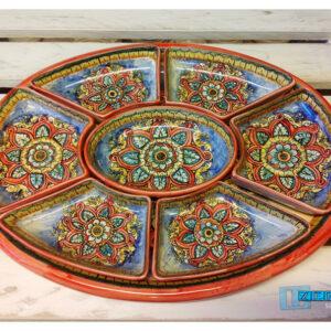 ANTIPASTIERA ovale in Terracotta bordo ROSSO sotto piatto Smaltata VENDITA ONLINE
