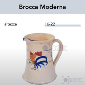 Brocca caraffa Moderna in Terracotta con Galletto Salentino