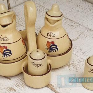 Terracotta Olio Aceto Sale Pepe il galletto di Puglia