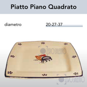 Piatto Piano Quadrato con Galletto Salentino by Zerosalento