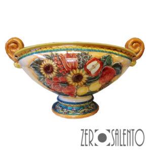 Vaso Porta Frutta dipinto a mano con girasoli e melograne lato