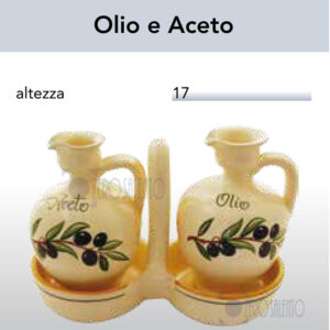 CONDITAVOLA Olio e Aceto in Terracotta - Ceramica decoro Olive con Ramo Olive Salentino by Zerosalento