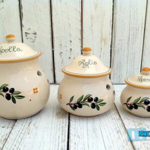 Contenitore Aglio - Peperoncino - Cipolla in Terracotta - Ceramica decoro Olive Salentina