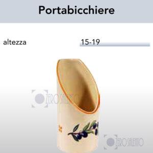 Porta Bicchiere da tavolo in Terracotta - Ceramica decoro Olive e Bicchierino con Ramo Olive Salentino by Zerosalento
