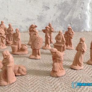 Natività natalizia per presepe con 25 personaggi in Terracotta colore naturale --NATIV-F3