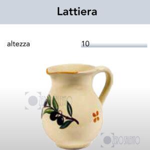Lattiera in Terracotta Salentina - Ceramica decoro Olive con Ramo Olive Salentino by Zerosalento