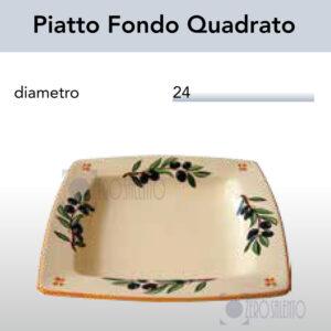 Piatto Fondo Quadrato con Ramo Olive Salentino by Zerosalento