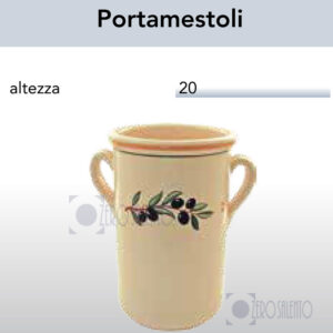Portamestoli alto con manici con Ramo Olive Salentino by Zerosalento