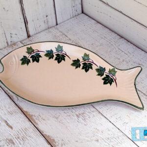 Antipastiera Pesce in Terracotta Ceramica Salento decoro Edera