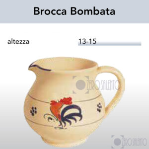 Brocca Bombata in Terracotta con Galletto Salentino