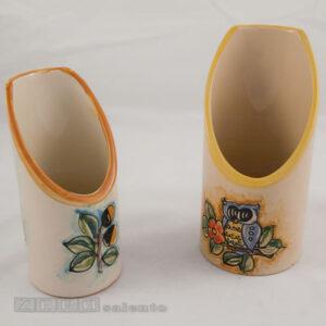 Porta Bicchieri terracotta da tavolo Le Civette dipinto a mano