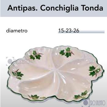 Antipastiera Conchiglia Tonda in Terracotta Salento con Edera