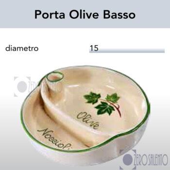 Porta Olive Basso in Terracotta Ceramica con decoro Edera Salento