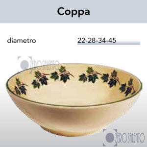 Coppa in Terracotta Ceramica con decoro Edera Salento