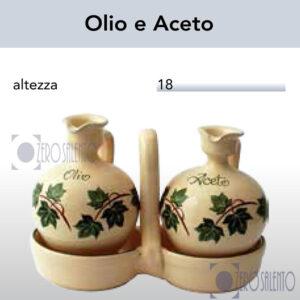 Conditavola Olio e Aceto in Terracotta Ceramica con decoro Edera Salento