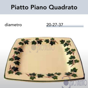 Piatto Piano Quadrato in Terracotta Ceramica con decoro Edera Salento