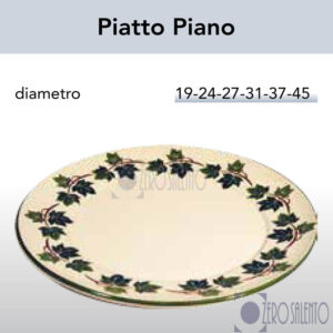 Piatto Piano in Terracotta Ceramica con decoro Edera Salento