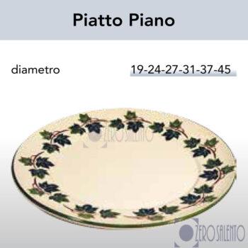 Piatto Piano in Terracotta Ceramica con decoro Edera Salento