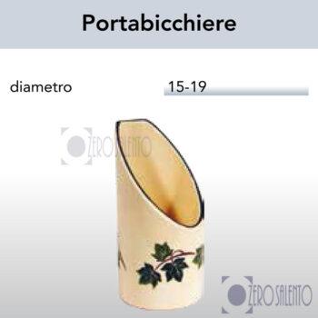 Porta bicchiere e bicchierini in Terracotta Ceramica con decoro Edera Salento