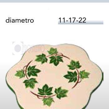 Sottopentola a forma di Fiore in Terracotta Ceramica con decoro Edera Salento