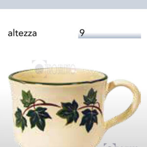 Tazza Latte in Terracotta Ceramica con decoro Edera Salento