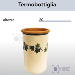Termobottiglia in Terracotta Ceramica con decoro Edera Salento