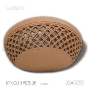 Applique Terracotta mezzaluna traforata a rombi TERIL27 ILLUMINAZIONE