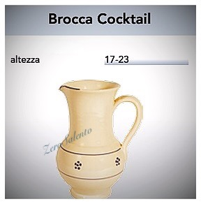 Brocca Cocktail acqua e vino in Terracotta - Ceramica decoro Stella Salento