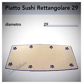 Piatto Sushi Rettangolare cm 29 in Terracotta - Ceramica decoro Stelle Salento