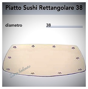 Piatto Sushi Rettangolare in Terracotta cm 38 - Ceramica decoro Stelle Salento