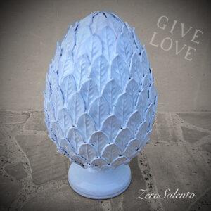Pigna in Terracotta o Pumo Porta Fortuna colore Bianco Foglie Venate - Ceramica del Salento by ZeroSalento