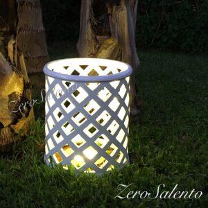 Lampada senza coperchio da appoggio in Terracotta a ROMBI smaltata bianca TERIL31 by ZeroSalento
