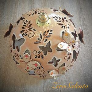 Lampadario in terracotta intagliato a mano con Farfalle cm40