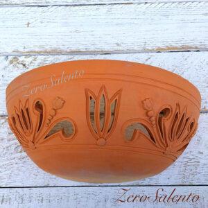 Applique in terracotta mezzaluna intagliata a mano colore naturale TERIL36 -by ZeroSalento