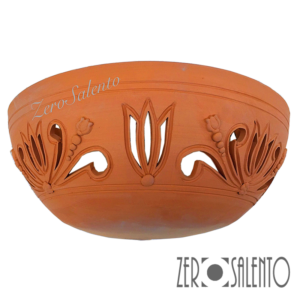 Applique in terracotta mezzaluna intagliata a mano colore naturale TERIL36 -by ZeroSalento