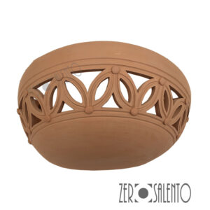 Applique in terracotta mezzaluna intagliata a mano colore naturale TERIL37