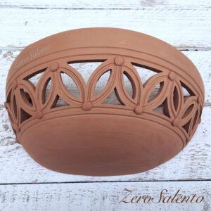 Applique in terracotta mezzaluna intagliata a mano colore naturale TERIL37
