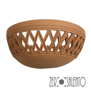 Applique in terracotta mezzaluna intagliata a mano colore naturale TERIL38