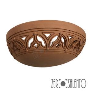 Applique in terracotta mezzaluna intagliata a mano colore naturale TERIL42