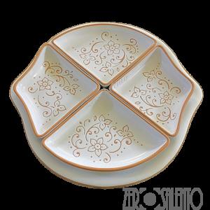 Antipastiera Limone in Terracotta ceramica bianca con disegno a incisione --by ZeroSalento