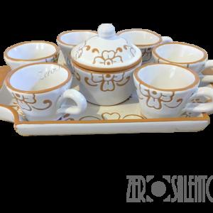 Servizio tazze caffè con vassoio e zuccheriera con decoro graffiato a incisione artigianale al 100% - by ZeroSalento
