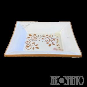 Vassoio rettangolare svuotatasche o antipasti con decoro graffiato a incisione - by ZeroSalento
